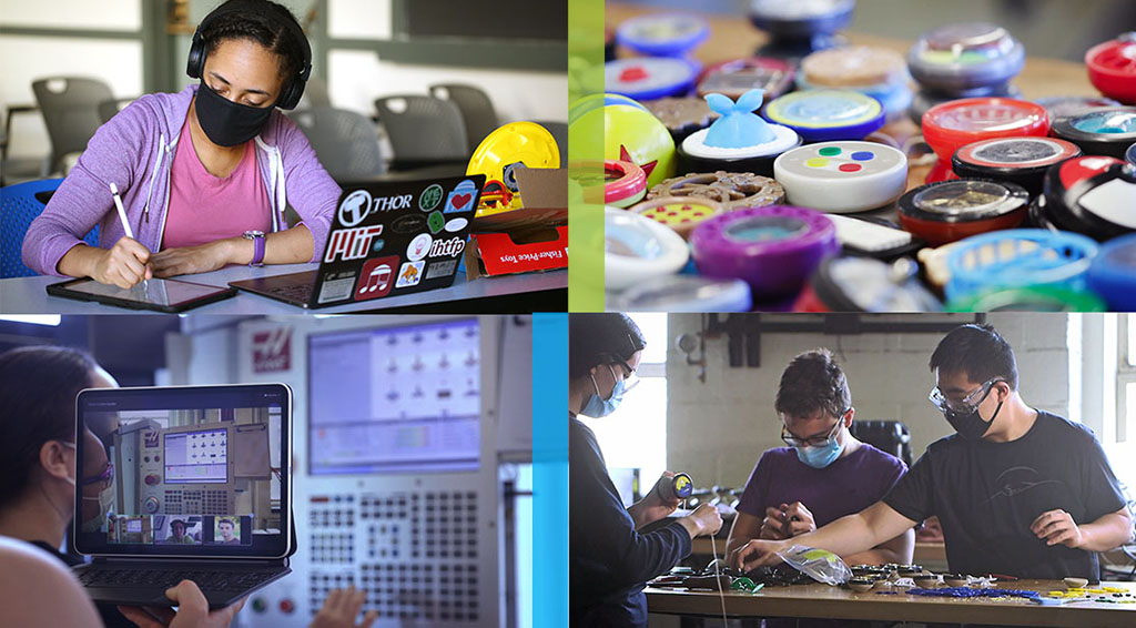 Collage of photos showing the process that students work through for Design and Manufacturing II