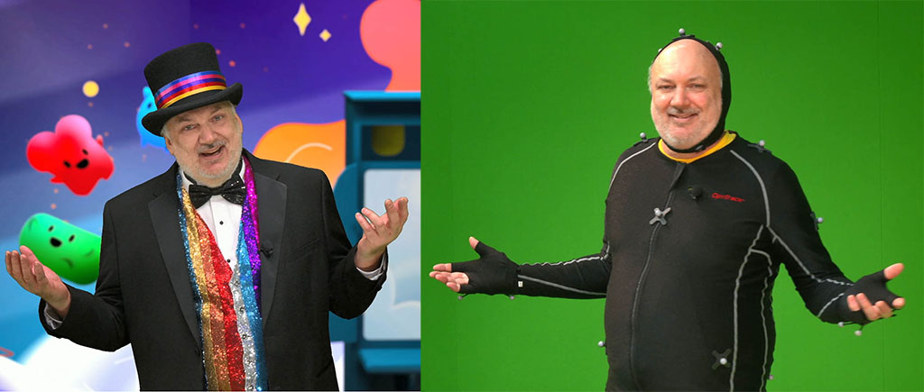 Comparison of David Wallace during live webcast using green screen