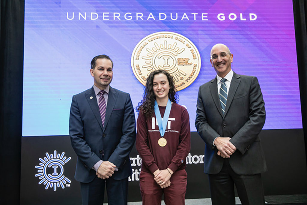 Elizabeth Bianchini '18 at the Undergraduate Category at the Collegiate Inventors Competition