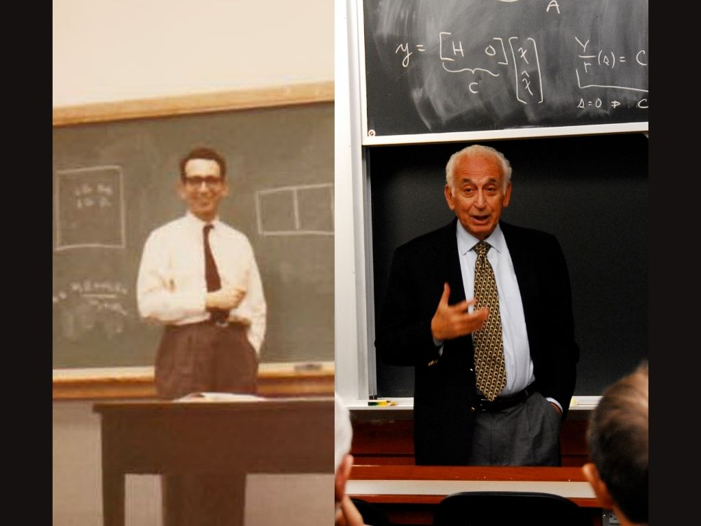 Photo Collage showing George Hatsopoulos in two different stages of his life, lecturing at MIT