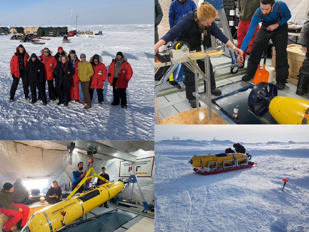 College of photos of researchers working on their navigational method for autonomous vehicles to navigate accurately in the Arctic Ocean without GPS.