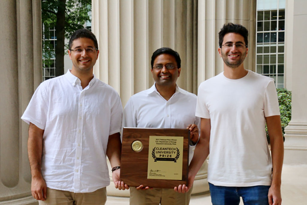 Left to right: Infinite Cooling researchers graduate student Karim Khalil, associate professor of mechanical engineering Kripa Varanasi, and graduate student Maher Damak.