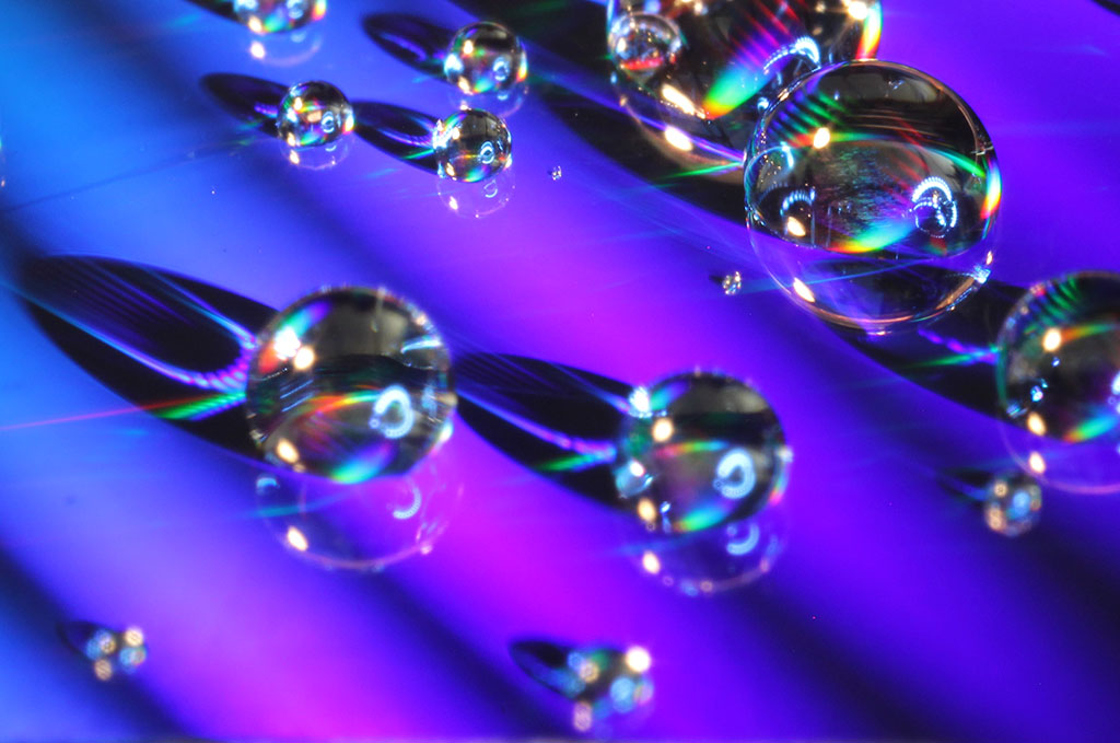 droplets beading up on surface