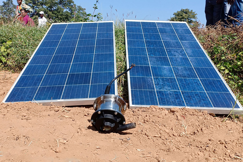 solar panels and the pump
