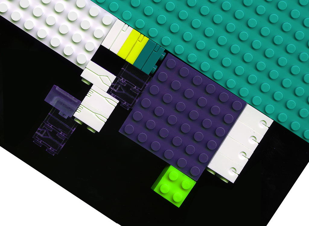 LEGO bricks, milled with tiny fluidic channels.