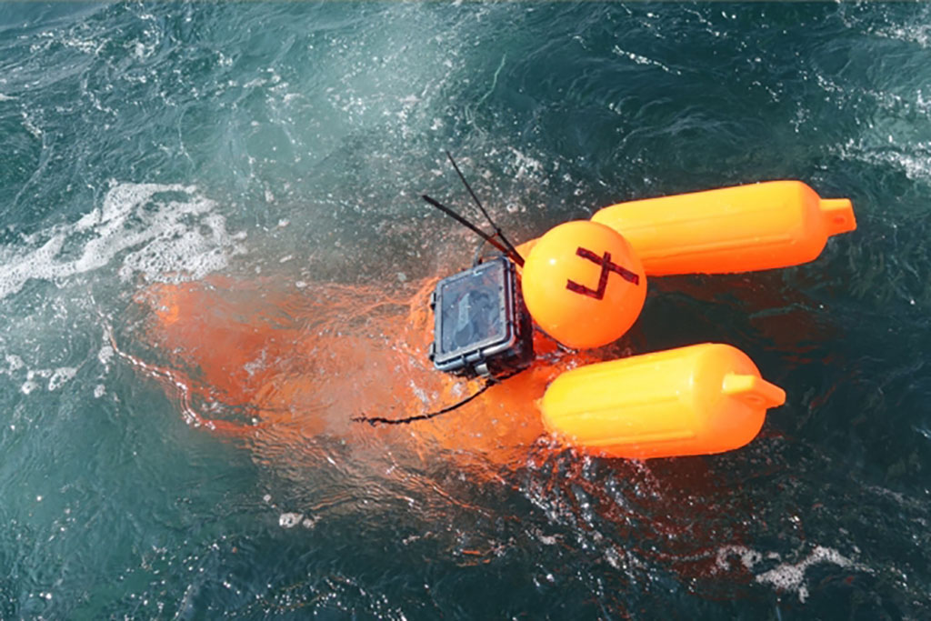 a human-sized mannequin buoy in the waters off of Martha's Vineyard