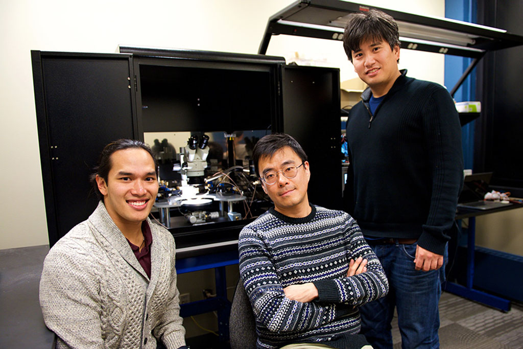 From left: MIT researchers Scott H. Tan, Jeehwan Kim, and Shinhyun Choi