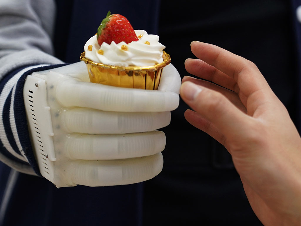 Caption:An MIT-developed inflatable robotic hand gives amputees real-time tactile control. The smart hand is soft and elastic, weighs about half a pound, and costs a fraction of comparable prosthetics.