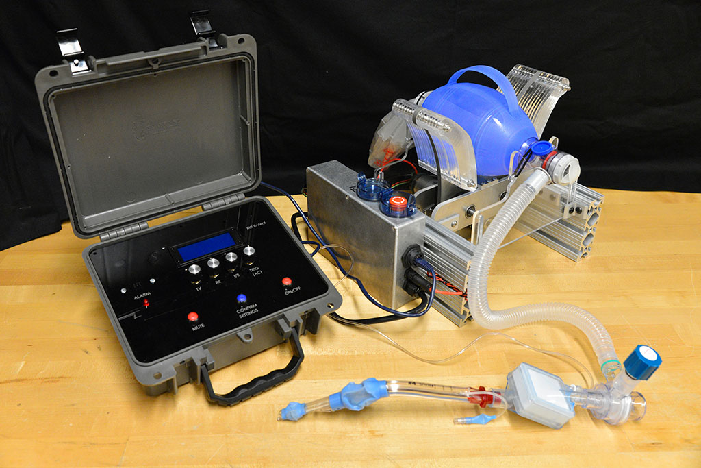The latest version of the MIT E-Vent team's emergency ventilator design undergoes testing in their lab.