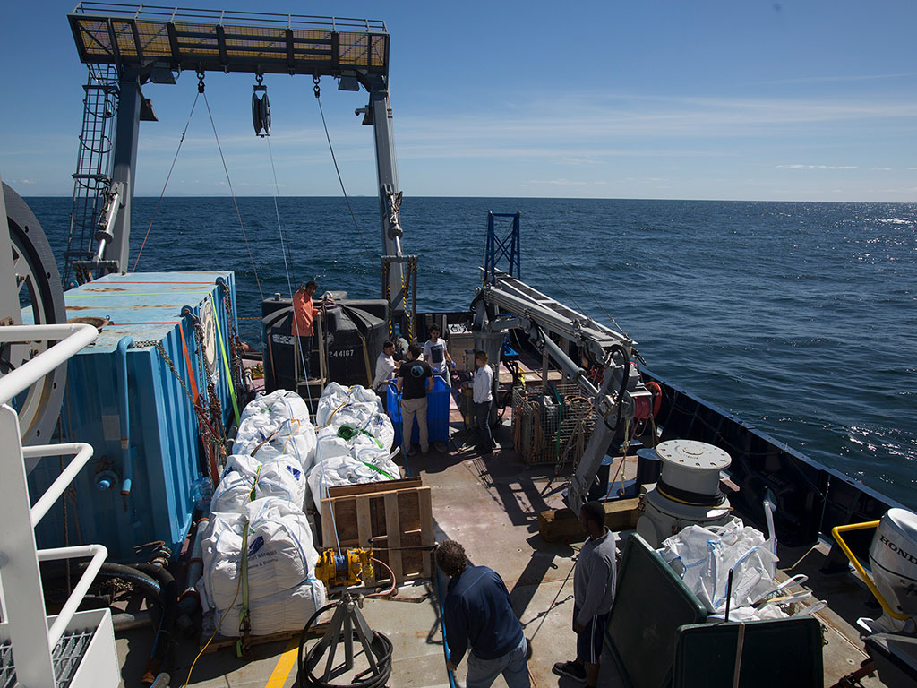 Scientists boarded the research vessel Sally Ride, and sailed off the coast of San Diego to study the dynamics of sediment plumes pumped into the ocean.