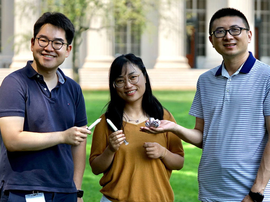 Caption:The research team: Hyunwoo Yuk, Jingjing Wu, and Xuanhe Zhao (from left to right), holding the barnacle shell and the barnacle-glue-inspired hemostatic paste in hands.