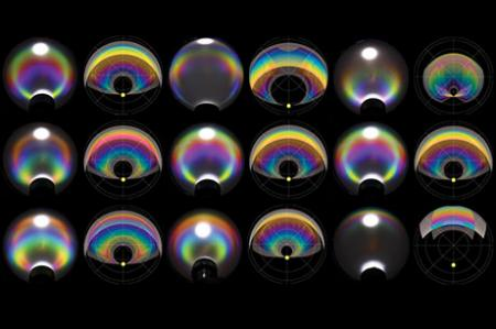 Engineers make clear droplets produce iridescent colors