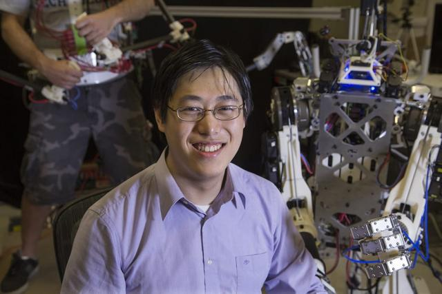 Albert Wang is building HERMES, a humanoid robot that works through tele-operation and proprioception.