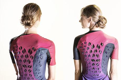 Breathable workout suit has ventilating flaps that open and close in response to an athlete's sweat.