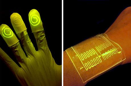 Xuanhe Zhao teams up to design cell-infused gloves and bandages that light up when in contact with certain chemicals.