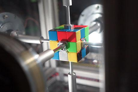 A robot developed by grad student Ben Katz can solve a Rubik's Cube in a record time