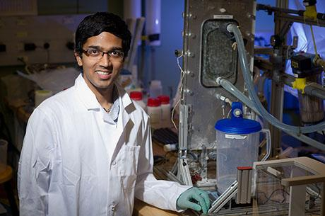 PhD candidate Jai Swaminathan is developing a water recovery system for dyeing mills in India.