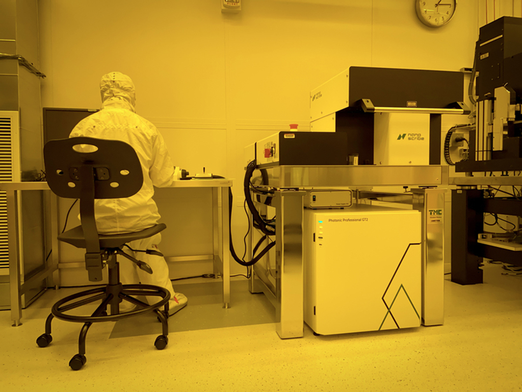 A researcher uses the Nanoscribe GT2, a high-speed, three-dimensional microfabrication instrument, in the soft lithography room at MIT.nano. The GT2 has been installed and qualified in MIT.nano's third-floor soft lithography space, and is now available fo