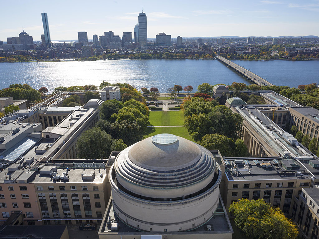 Aerial view of the MIT Campus, Great Done, overlooking the Charles River