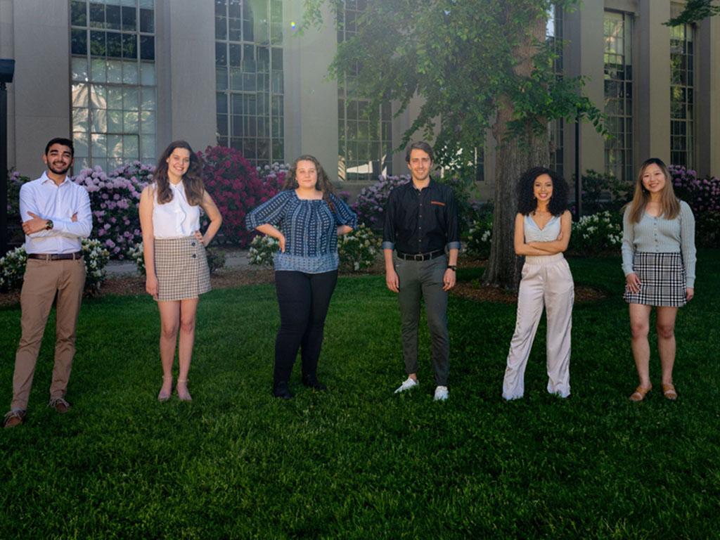 Left to right: Daniel Gonzalez-Diaz, Chloe Nelson-Arzuaga, Leilani Trautman, Berke Saat, Rima Rebei, and Jeana Choi began studying autonomous robotics after entering NEET during their sophomore year at MIT.