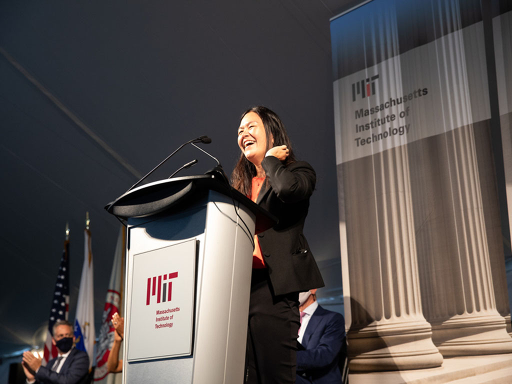 Evelyn Wang '00, the Ford Professor of Engineering and head of the Department of Mechanical Engineering, offered tips for students to make the most of their time at MIT. The first is to be resilient and keep from dwelling on stress