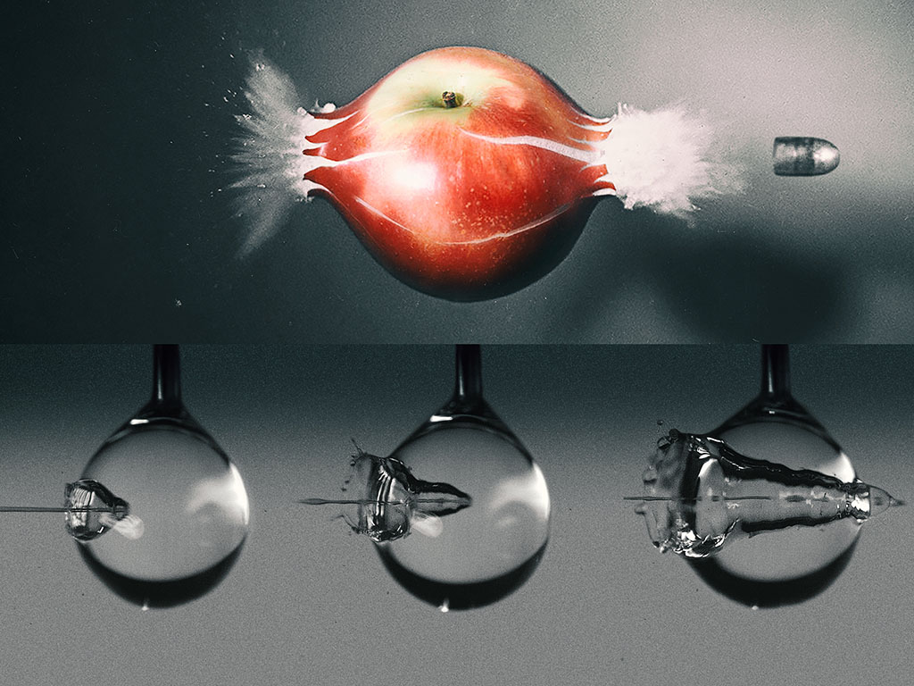 High-speed camera captures a water jet's splashy impact as it pierces a droplet