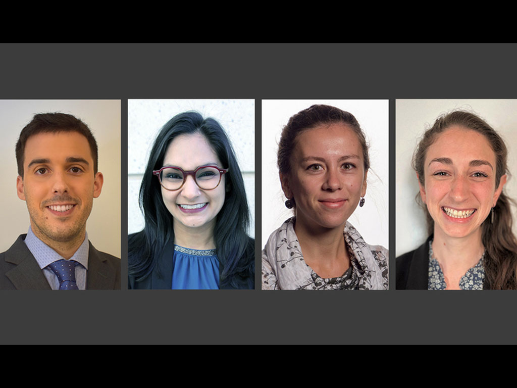 Left to right: Álvaro Fernández Galiana, Fatima Hussain, Sirma Orguc, and Rebecca Pinals have been named as Schmidt Science Fellows, an honor created in 2017 to encourage young researchers to pursue postdoctoral studies in a field different from their gra