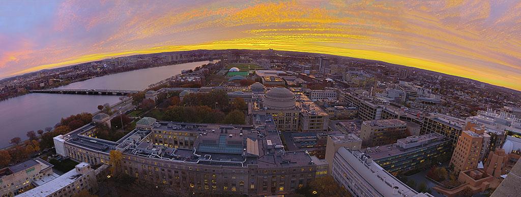 aerial sunset over MIT