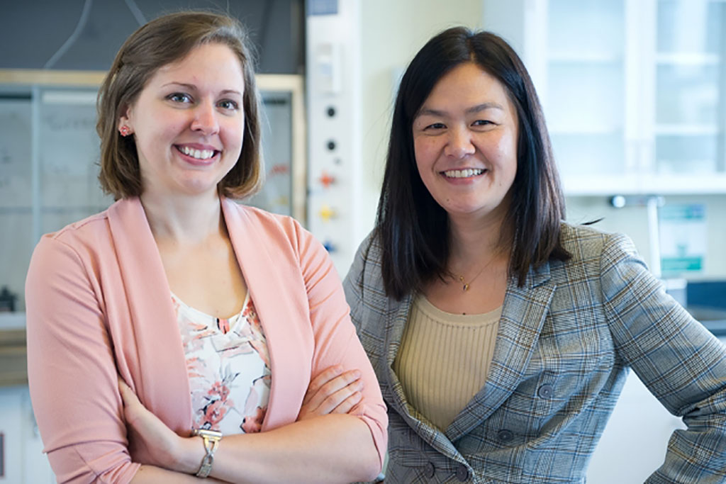 Professor Evelyn Wang (right), graduate student Elise Strobach (left),