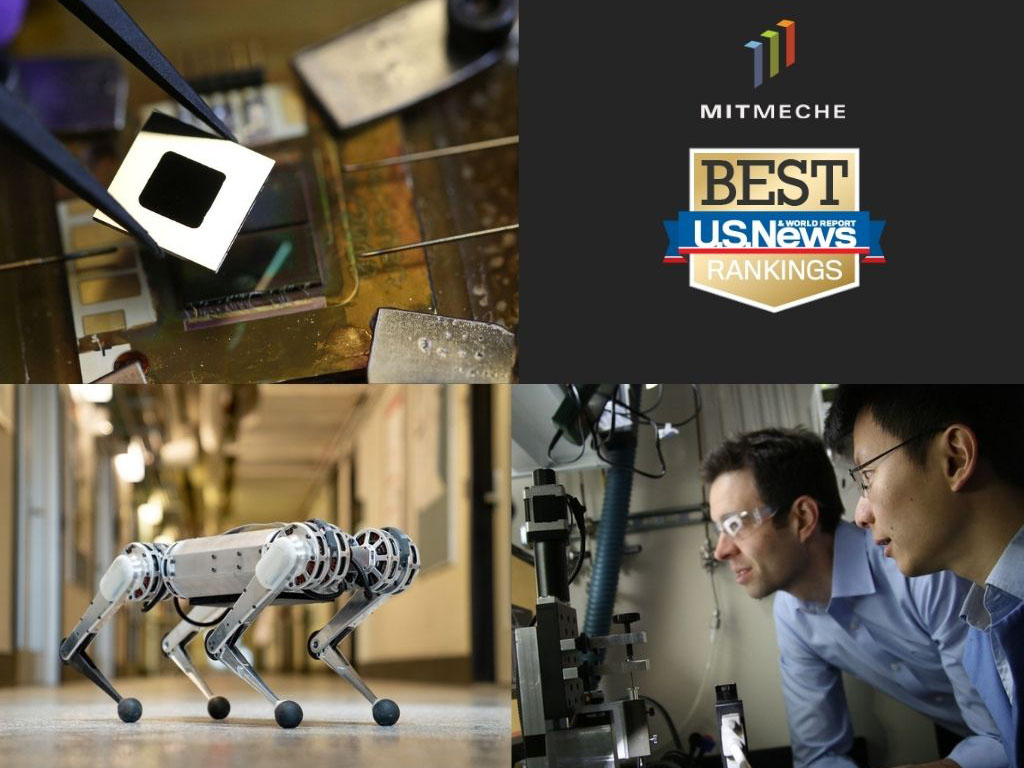 Collage of Mechanical Engineering photos with Best U.S. News and World Report and MechE Logo