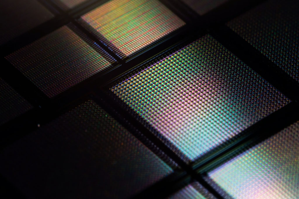 """A close-up view of a new neuromorphic """"brain-on-a-chip"""" that includes tens of thousands of memristors, or memory transistors."""