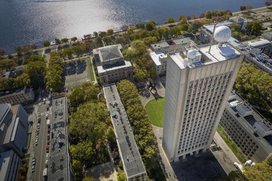 """The radar dome, or """"radome,"""" perched atop the MIT Cecil and Ida Green Building was saved from demolition by the student-led MIT Radio Society, which had found creative new uses for it, like bouncing radio signals off the moon to communicate over further d"""