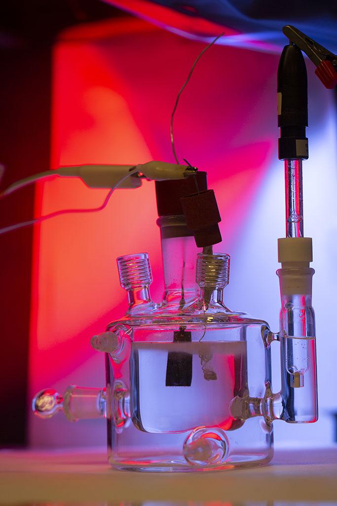 A three electrode cell setup